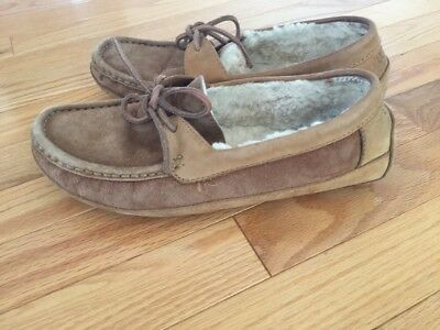 343cea80769 UGGS AUSTRALIA 5102 Byron Moccasin Slippers Men Ss8 Distressed Suede  Chestnut