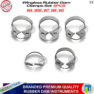 5pcs Rubber Dam Metal Clamps Wingless Basic Kit Restorative Upper Molars Dental