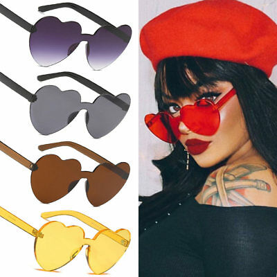 Ladies New Style Red Heart-shaped Rimless Frame Sunglasses UV400 Glasses Unique