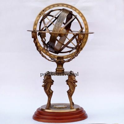 Marine Large Brass Armillary Engraved Sphere Globes -World Instrument Xmas Gift