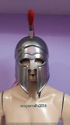 Medieval Greek Costume Corinthian Helmet With Red Plume Armor Knight Spartan