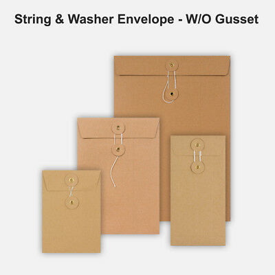 DL C4 C5 C6 Quality String&Washer Without Gusset Envelope Button Tie Manilla