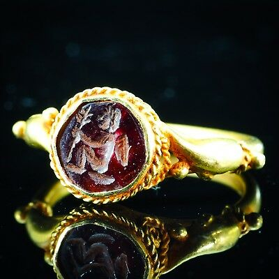 Ancient Garnet Intaglio Wing Cupid Holding Magic Wand Pure Solid 22K Gold Ring