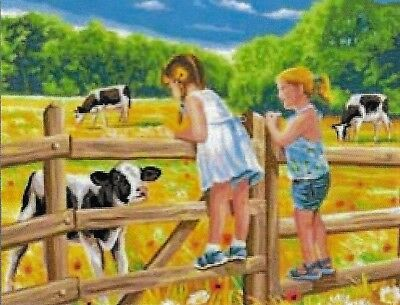 """NEW """" DAY AT THE FARM""""  tapestry canvas to stitch 37 X 47.5CM-IMPORTED CANVAS"""