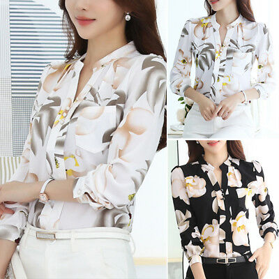 2019 Women Ladies Casual Chiffon T Shirt Floral Print Long Sleeve Blouse Tops