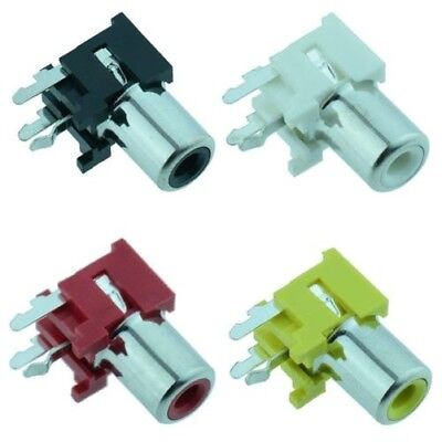 RCA Right Angle PCB Phono Socket Connector - Red Black White Yellow