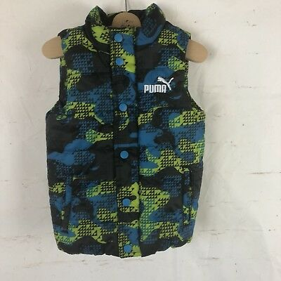 Puma Boys Sz 4 Puffer Vest EUC Blue Green Black
