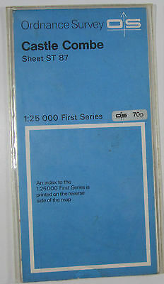 1972 old vintage OS Ordnance Survey 1:25000 First Series map ST 87 Castle Combe