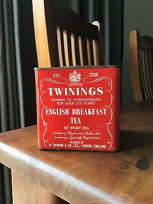 Vintage Twinings English Breakfast Tea Metal Tin Case Red 250g EMPTY England