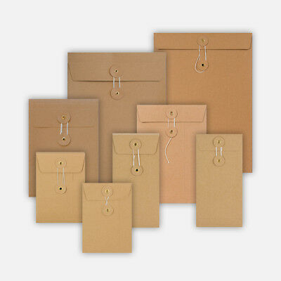 DL C4 C5 C6 Quality String and Washer Envelopes Button Tie Brown Manilla Cheap