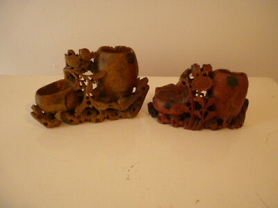 2 Pretty Antique Carved Chinese Soap Stone Brush Pots