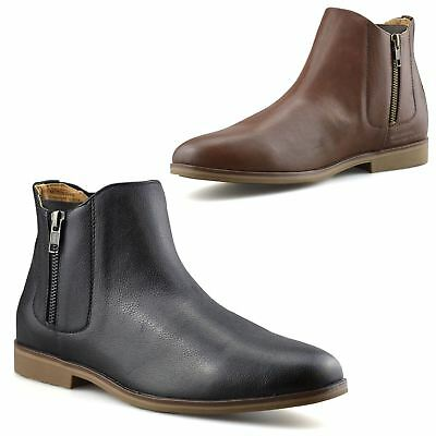 Mens New Zip Up Casual Smart Formal Chelsea Dealer Work Ankle Boots Shoes  Size 5b3ec057710f