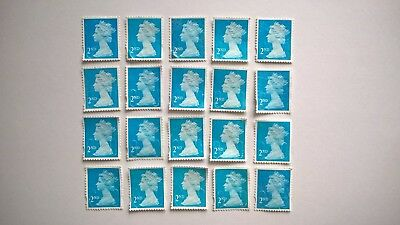 20 Unfranked Second Class Blue Stamps Off Paper With Slight Faults