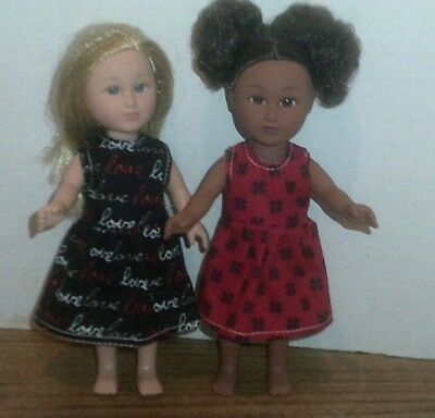 "6/6.5"" Doll Clothes-fit Mini American Girl My Life-2 Dresses-Love Red Fl"