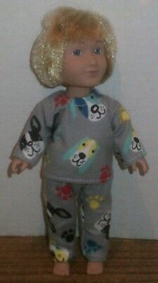 Doll Clothes-fit Mini American Girl Boy My Life-Flannel-Pajamas-Puppies n Paws