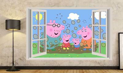 Peppa Pig Cartoon 3D Window Effect Wall Sticker Art Mural Decal