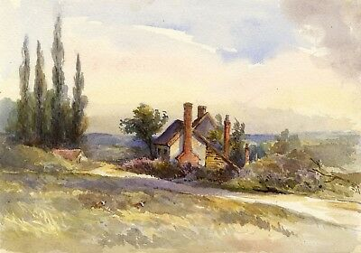 F. Matthews, Farmhouse in a Landscape - 1898 watercolour painting