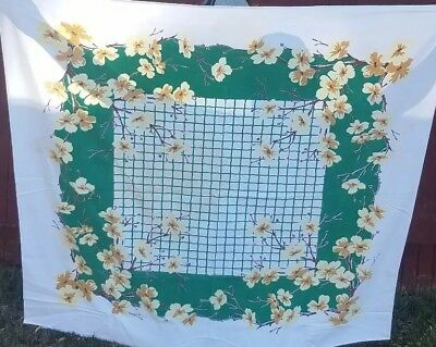 """Vintage Tablecloth Green White Orchid Linen Craft 50's Colorful Flowers 52""""x45"""
