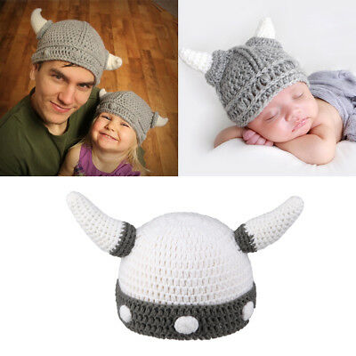 Newborn Baby Kids Viking Hat Crochet Horns Cap Knitted Beanie