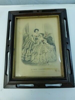 Antique Wooden Framed La Mode Illustree Victorian Ladies