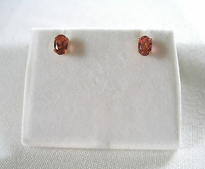 .60 Ct. Pink Tourmaline Solitaire  14k Gold Earrings