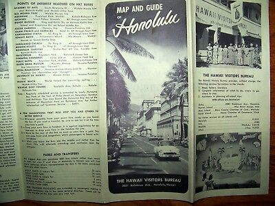 1954 MAP & GUIDE of HONOLULU HAWAII Brochure Fold Out Pamphlet Booklet