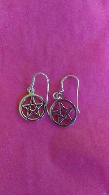 """Pentacle Earrings Small Unique Gothic Sterling Silver Wicca 1/2"""""""