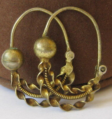 AMAZING ANTIQUE POST MEDIEVAL 18-19th.c.SILVER GOLD PLATED EARRINGS   # 579
