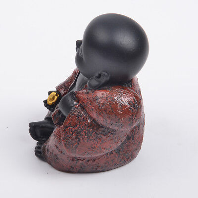 Resin Happy Buddha Figure Ornament Chinese Laughing Sitting Hand Carved-Red