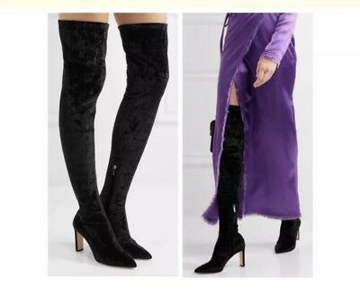 7c2c185bb40e Jimmy Choo Lorraine Black Stretch-Velvet Over-the-Knee Boots Size 37.5 OTK