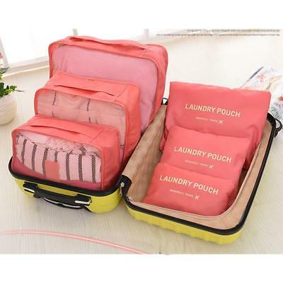 6Pcs Travel Luggage Organiser Cube Clothes Storage Pouch Suitcase Packing Bags