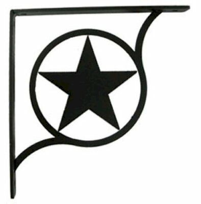 "Wall Shelf Bracket Pair Of 2 Western Star Pattern Wrought Iron 5.25"" L Crafting"
