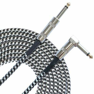 3M Guitar Lead 1 Right Angle Jack Noiseless Braided Tweed Instrument Cable F2