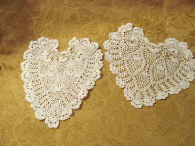 Never Used~2 HEART Shaped Hand Crocheted DOILIES~Very Fine White Thread Doily