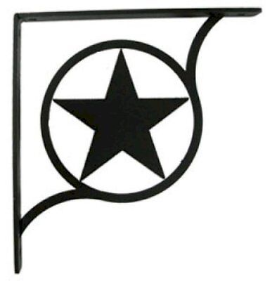 "Wall Shelf Bracket Pair Of 2 Western Star Pattern Wrought Iron 9.25"" L Crafting"