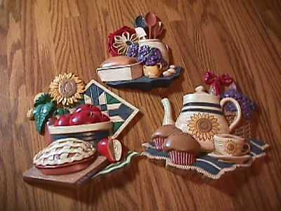 Vintage Homco 3 Pc Set 3D Country Kitchen Wall Plaques