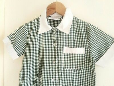 Girls School Uniform. Summer Dress. Green and White Gingham. Size 6. Pre Owned.