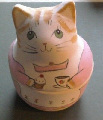 Merryfield Pottery Ginger Cat trinket box, hand painted U.K. made, boxed
