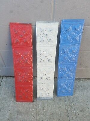 (3) Three Vinatge Ceiling Tins 5.5in x 24.5in great for crafts and projects