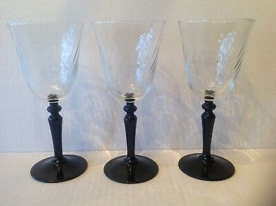 3 Arcoroc Cristal D'Arques France goblets glasses Onyx black stem Clear swirl