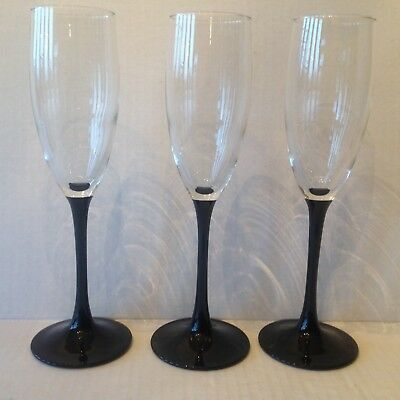 3 Luminarc Cristal D'Arques France Flute Champagne Onyx black stem Clear Top