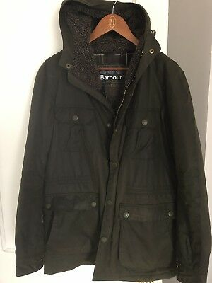 Barbour Slim Fit Fleece Lined Waxed Cotton Hooded Coat Size Medium