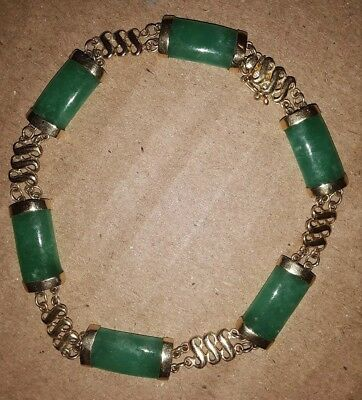 "Vintage 14K Solid Gold Chinese Jade Fancy Bracelet  7 1/4 ""  9grams"