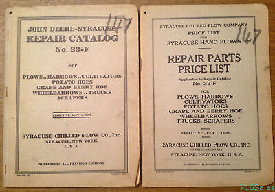 1929 Syracuse NY Chilled Plow Deere Repair Catalog 33-F with Parts Price List