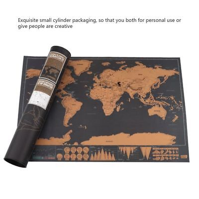 Deluxe Scratch Off Journal Log World Giant Personalized Travel Map Atlas Poster_