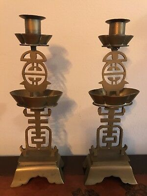 Vintage Pair of Collectible Solid Brass Antique Candle Holders, measures 10.5""