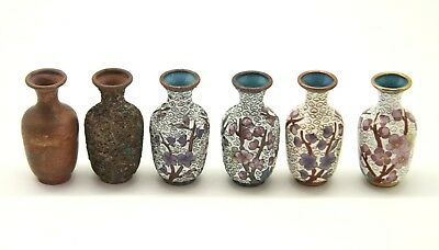 Miniature Set Of Chinese Cloisonne Vases Showing 6 Production Stages