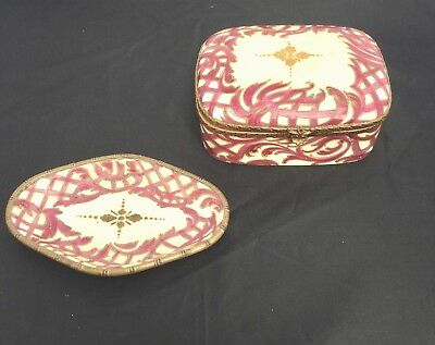 Antique French Porcelain Jewelry Casket + Ring Tray Burgundy Hand Painted Signed