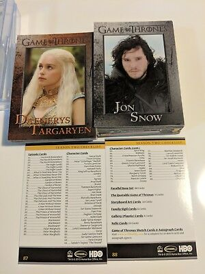 2013 Game of Thrones Season 2 COMPLETE BASE SET 88 CARDS LOT Daenerys Jon Snow