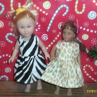 "6/6.5"" Doll Clothes-fit Mini American Girl My Life-2 Dresses-Zebra/Animal"